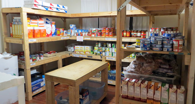 Shelves at Haymarket Regional Food Pantry