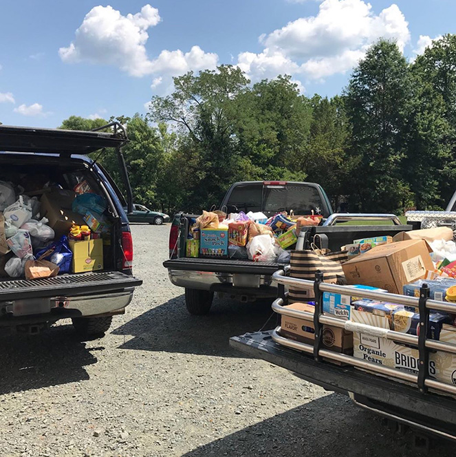Park Valley Church Food Drive Trucks Loaded with Food